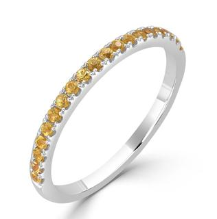 White gold band with yellow sapphires