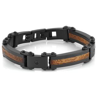 Black plated stainless steel bracelet with wood inlay