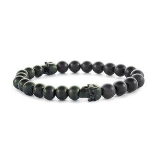 Stainless steel bracelet with black and skull beads