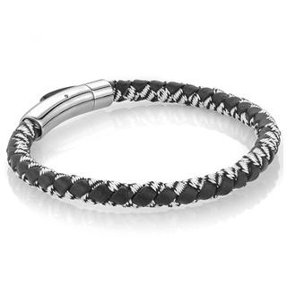 Stainless steel black leather and white nylon bracelet