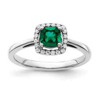 Created emerald and diamond ring in white gold