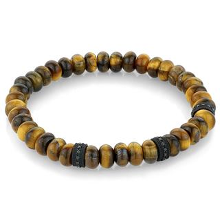 Stainless steel bracelet with black and tiger eye beads