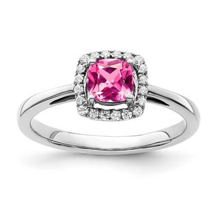 Created pink sapphire and diamond ring in white gold