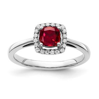 Created ruby and diamond ring in white gold