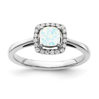 Created opal and diamond ring in white gold