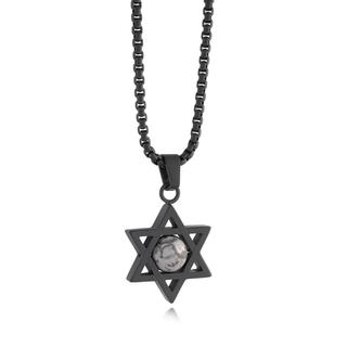 Stainless steel black matte Star of David