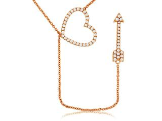 Diamond heart and arrow necklace