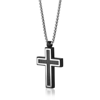 Stainless steel black plated cross