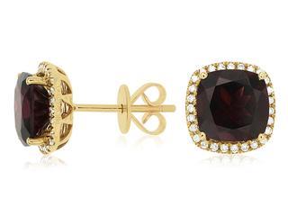 Yellow gold garnet and diamond stud earrings