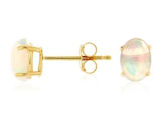 Yellow gold opal stud earrings