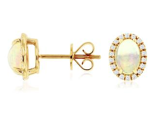 Yellow gold opal and diamond stud earrings