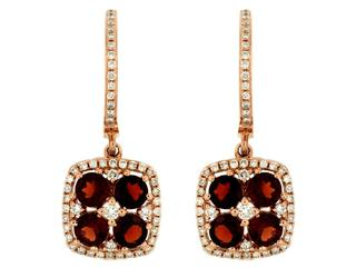 Rose gold garnet and diamond dangle earrings