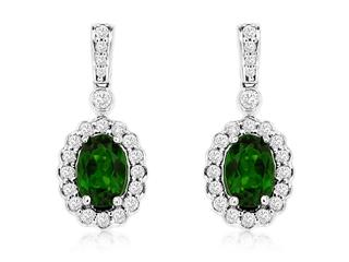 White gold russalite and diamond drop earrings