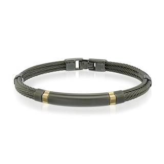 Black plated stainless steel cable bracelet