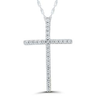 Diamond cross pendant in white gold