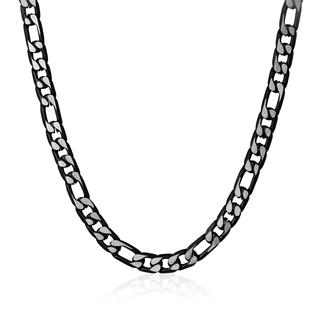 Black plated diamond cut Figaro link chain