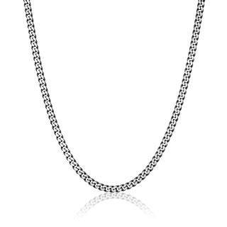 Black plated stainless steel link necklace
