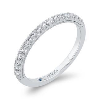 Diamond wedding band in 18k white gold