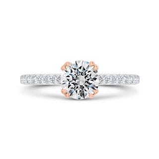 Diamond semi mount engagement ring with milgrain in 18k white gold