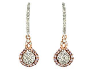 Two toned diamond drop earrings