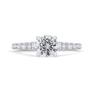 Diamond semi mount shared prong milgrain engagement ring in 18k white gold
