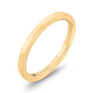 Milgrain shank wedding band in yellow gold
