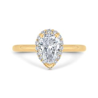 Diamond semi mount engagement ring with a pear diamond halo