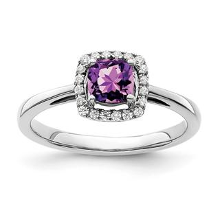 Natural amethyst and diamond white gold ring