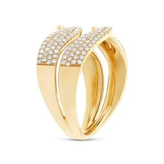 Yellow gold diamond pave freeform ring