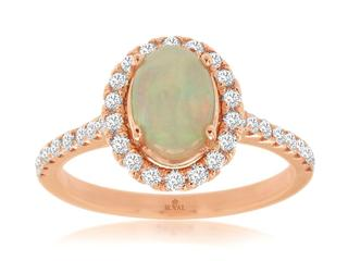 Rose gold opal diamond ring