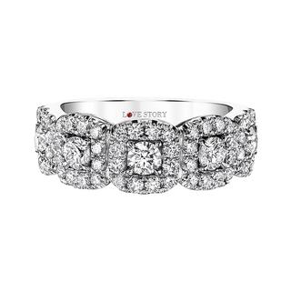 White gold diamond cluster band