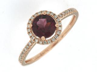 Rose gold rhodolite and diamond ring