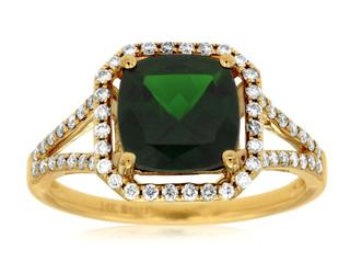 Yellow gold russalite and diamond split shank ring