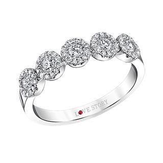 White gold diamond cluster wedding band
