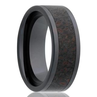 Men's black ceramic wedding band