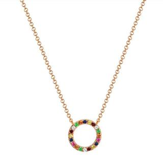 Rose gold rainbow sapphire circle necklace