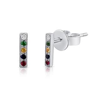 white gold rainbow sapphire bar earrings