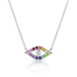 White gold rainbow sapphire evil eye necklace