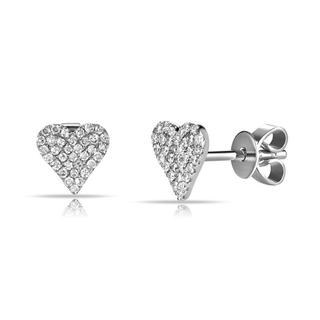White gold diamond heart stud earrings