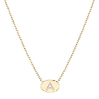 Yellow gold oval diamond initial pendant