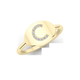 Yellow gold diamond initial ring
