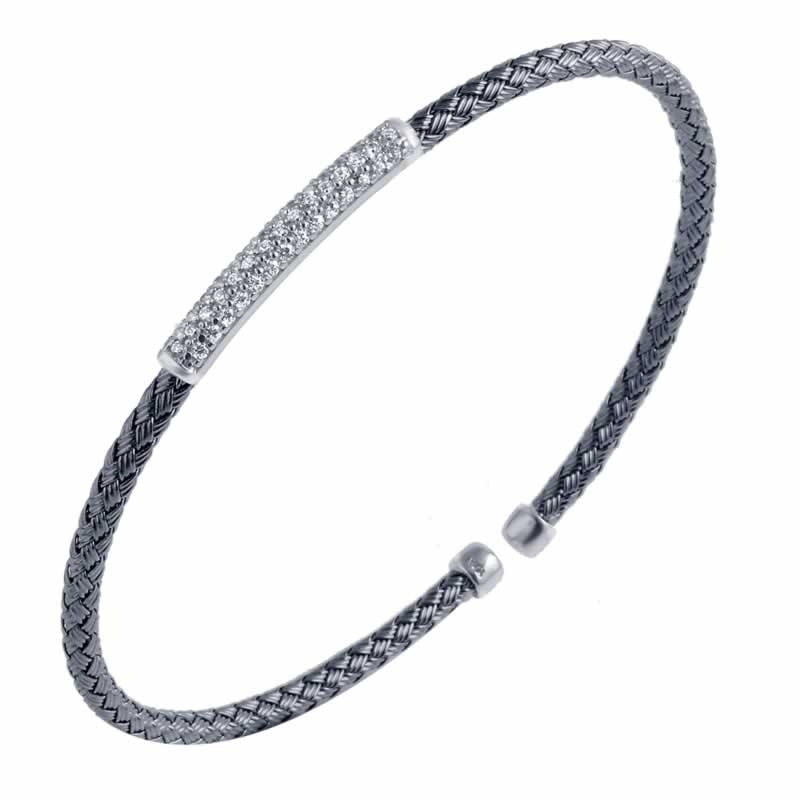 STERLING SILVER 3MM STACKABLE CUFF WITH CZ BAR BLACK RUTHENIUM AND RHODIUM FINISH