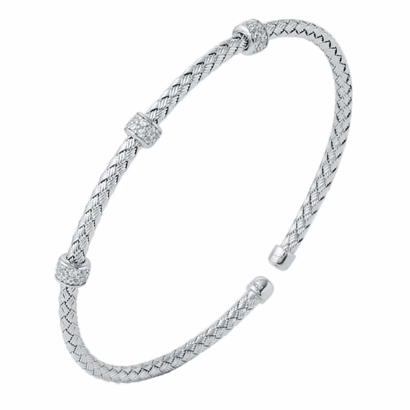 STERLING SILVER 3MM STACKABLE CUFF 3 ROUNDELLE CZ WHITE RHODIUM FINISH