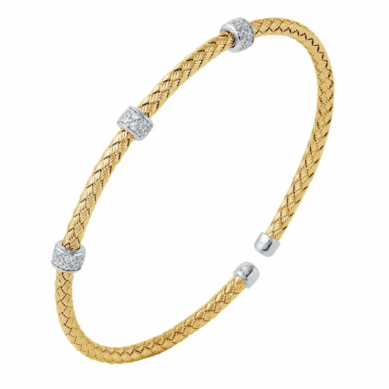 STERLING SILVER 3MM STACKABLE CUFF 3 ROUNDELLE CZ 18K YELLOW GOLD AND RHODIUM FINISH