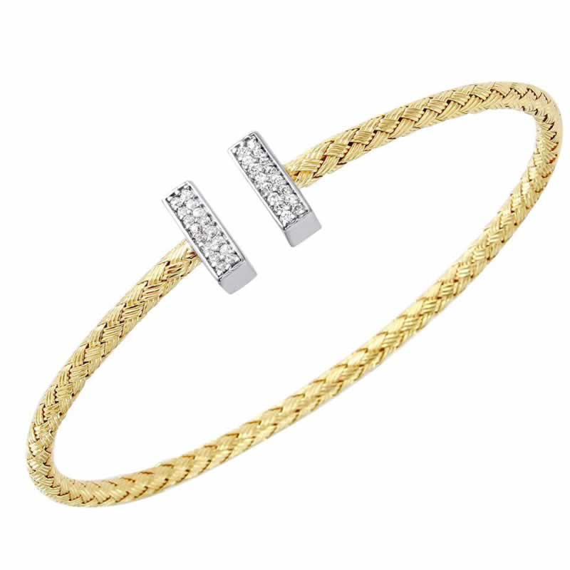 STERLING SILVER 3MM STACKABLE CUFF WITH CZ BAR CAP 18K YELLOW GOLD AND RHODIUM FINISH