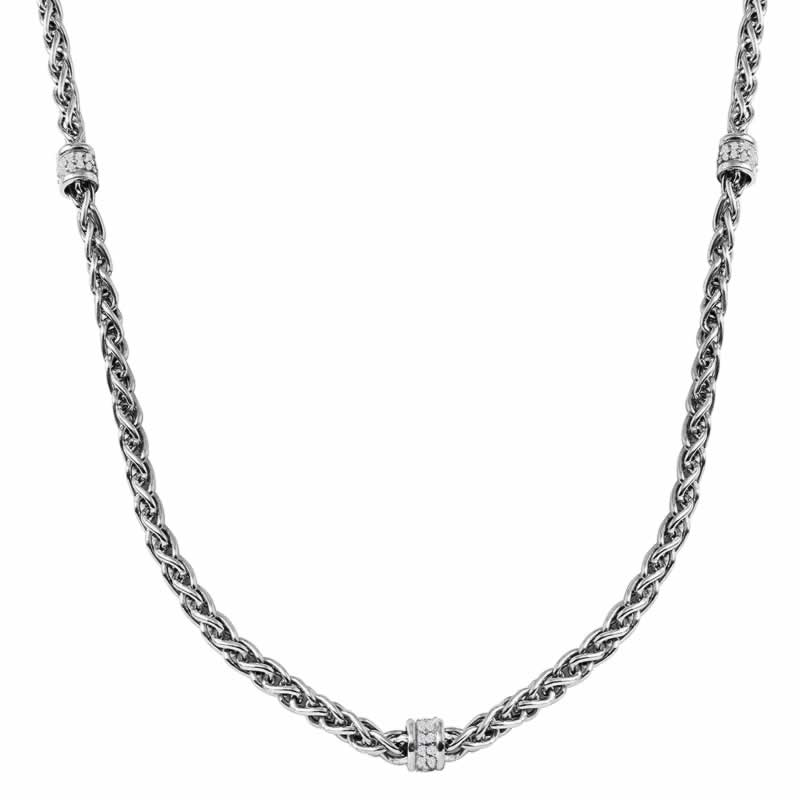 STERLING SILVER WHEAT CHAIN WITH CZ ROUNDELLE 17+2 INCH NECKLACE WHITE RHODIUM FINISH