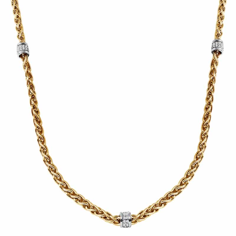 STERLING SILVER WHEAT CHAIN WITH CZ ROUNDELLE 17+2 INCH NECKLACE 18K YELLOW GOLD AND WHITE RHODIUM FINISH
