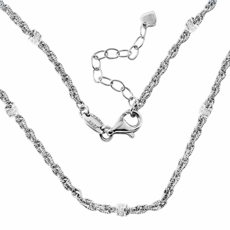 STERLING SILVER DIAMOND CUT ROPE CHAIN WITH CZ ROUNDELLE 17+2 INCH NECKLACE 18K YELLOW GOLD AND WHITE RHODIUM FINISH